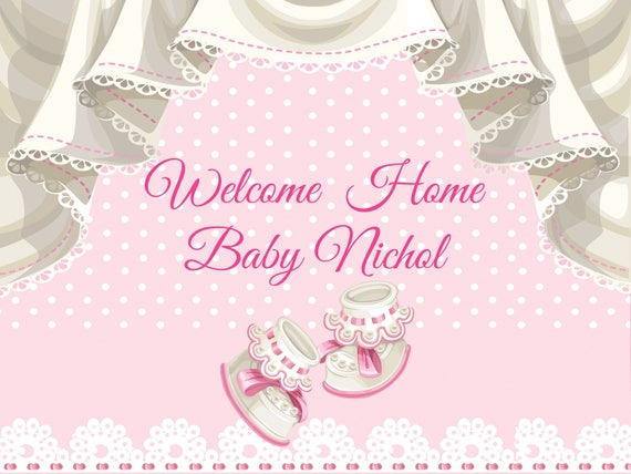 Large Welcome Home Baby Banner Baby Shower Banner Baby Girl Etsy