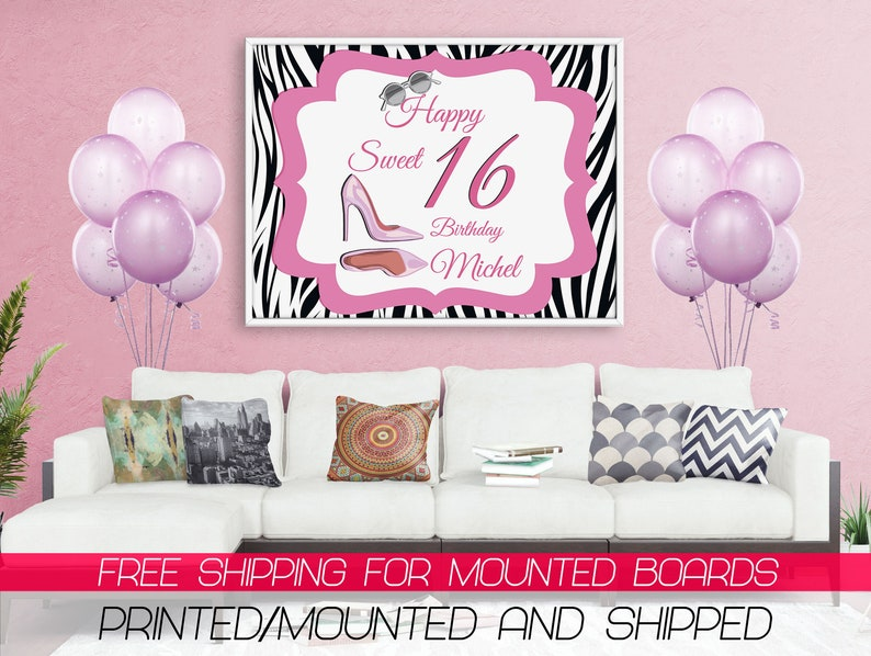 Pink and Grey Sweet Sixteen 16 Birthday Banner Personalized Party Backdrop