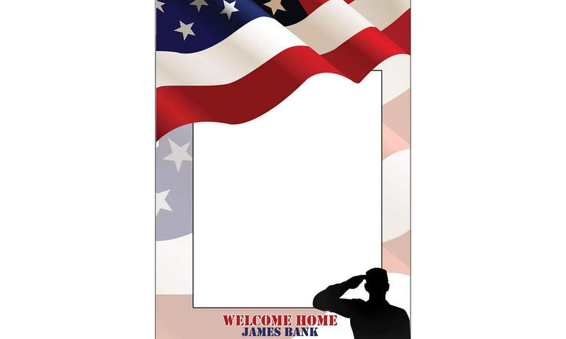 Patriotic Decorations ;10011100 Army Soldier Decoration Personalized Welcome Home Military Photo booth 4th of July Photo Prop