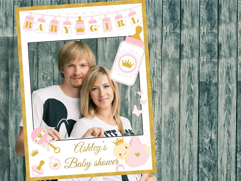 Gold and Pink Giraffe Baby Shower Selfie Frame Poster