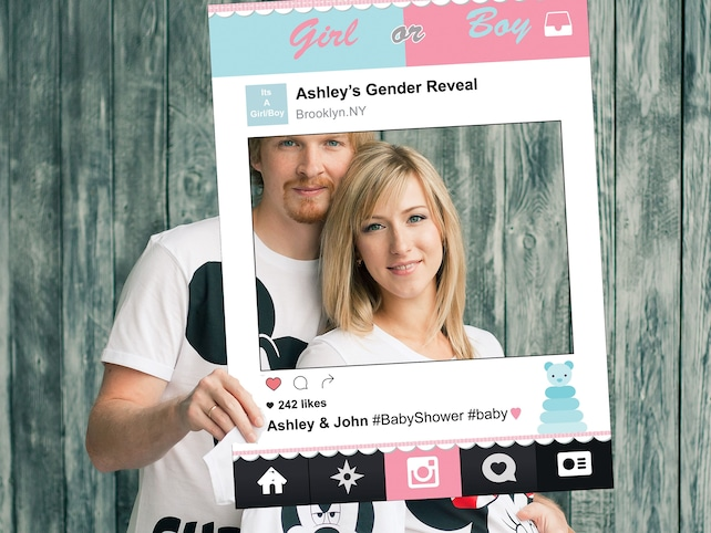 Gender Reveal Photo Booth Frame Baby Shower Photo Booth Prop He