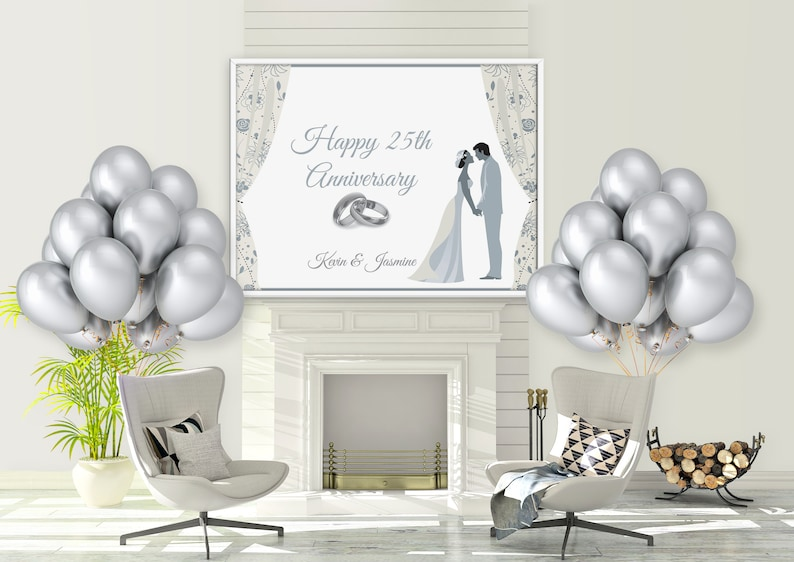 25th Wedding Anniversary Party Banner Custom Silver Etsy