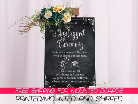 Wedding Sign Poster Print Chalk Sketch No Phone Camera Unplugged