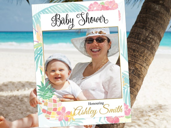 Large Custom Pineapple Baby Shower Photo Booth Frame Tropical Etsy