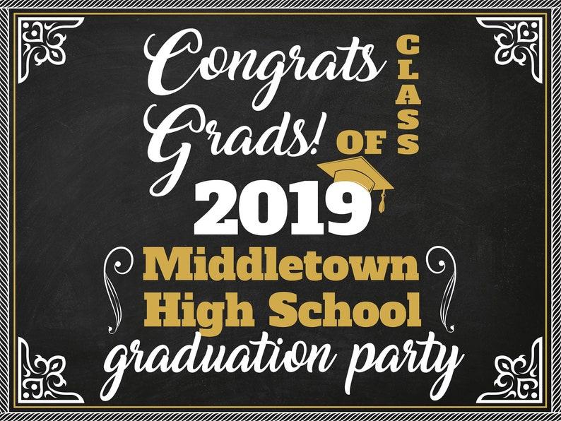 Chalkboard High School Graduation Party Banner Congratulations Grads Poster  ;81000290