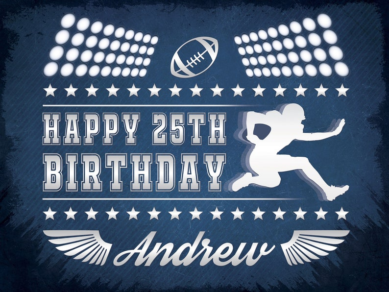 Football Birthday Party Banner Birthday Party Decoration ;81000179 Touchdown Football Party Poster