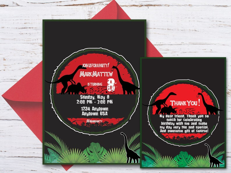 Custom Dinosaur Birthday Invitation Thank You Cards Party Dino PrintableDinosaur Invite 20000300