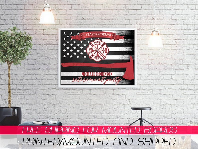 Retirement Party Welcome Banner Retirement Poster ; 81000235 Retirement Party Poster Fire Department Retirement Banner