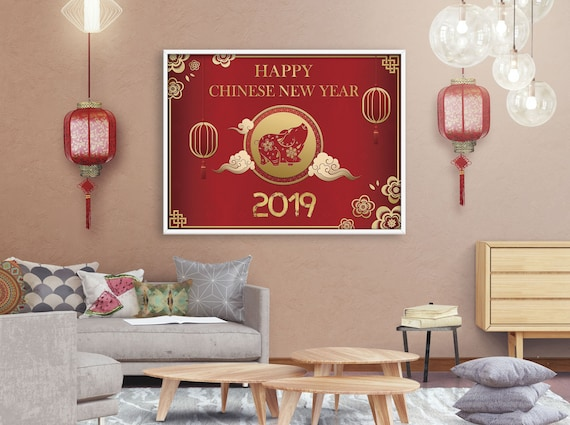 Chinese New Year Banner Year Of The Pig Poster New Year Etsy
