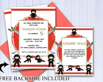 Custom Ninja Birthday Invitation, Thank you Card, Ninja Party Invitation, Ninja Baby, Karate Invite, martial arts Invite,Kids Party;20000126