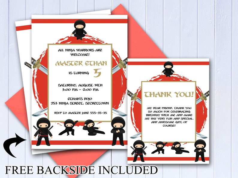 Custom Ninja Birthday Invitation Thank You Card Ninja Party Etsy