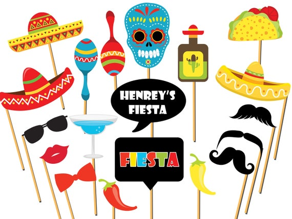 Custom Fiesta Photo Booth Props Mexican Fiesta Mexico Photo Etsy