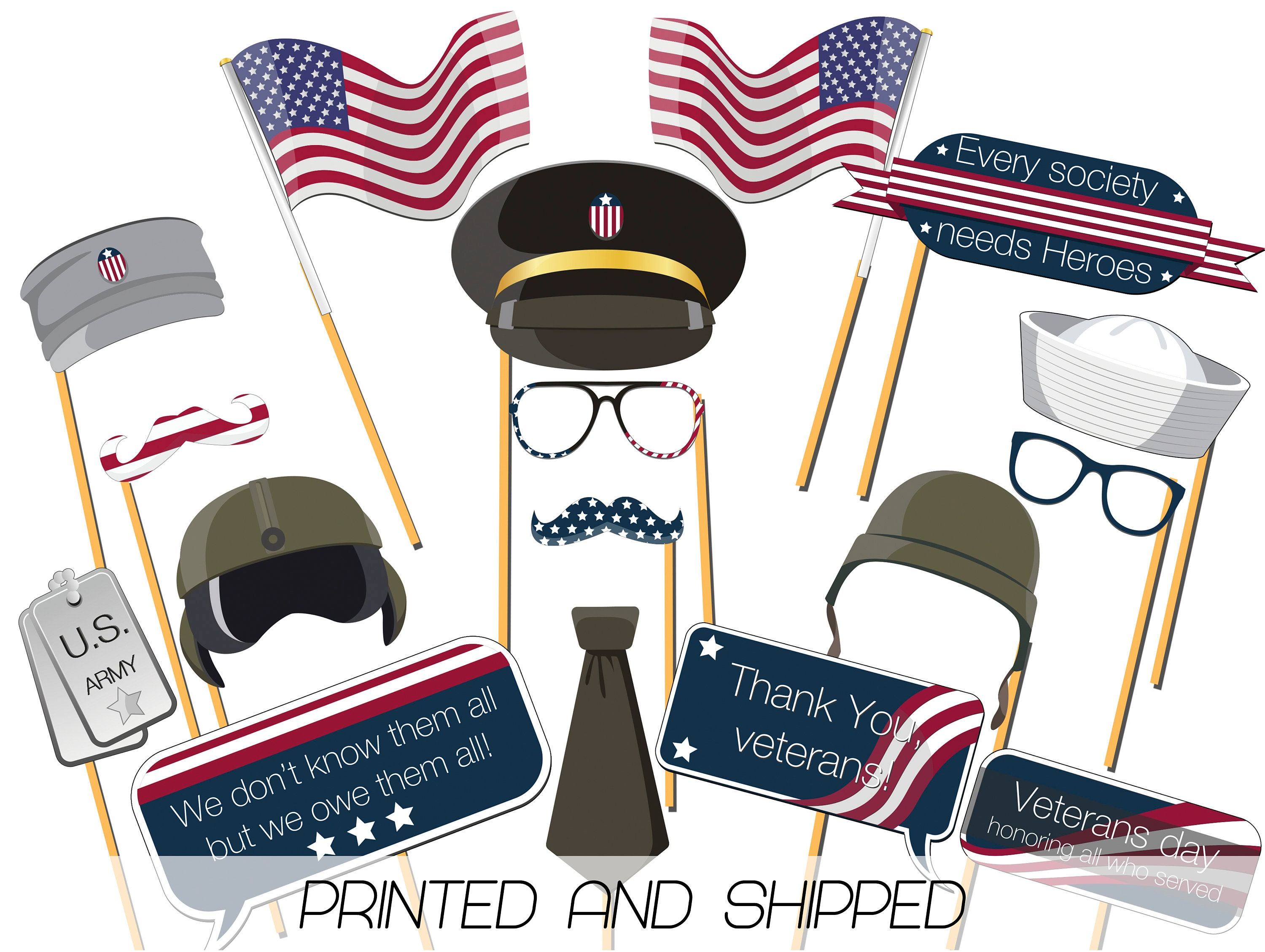Custom veterans photo booth prop happy veterans day party photo props holiday photo booth props military photo props us army 2002013