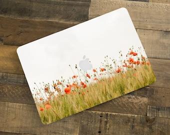 "Poppy Flower Field Photo laptop computer skin decal cover case Macbook Pro Macbook Retina Macbook Air 15"" 13"" 12"" 11"""