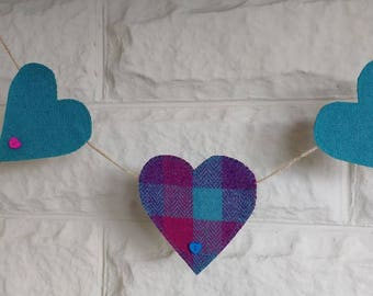 Harris Tweed Heart Garland