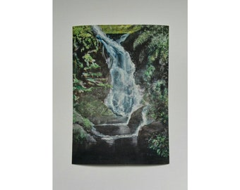 Waterfall picture. A high quality reproduction of original artwork by Trudi Breen.  Home decor. Print for framing. A4 size.