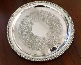 WM Rogers Silverplated Round Serving Tray