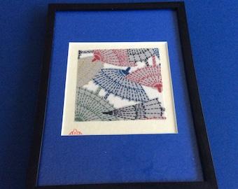 Framed Japanese kimono fabric on handmade rice paper