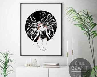 Vibing- hand signed limited edition A3 Giclée print by Emilie Geant