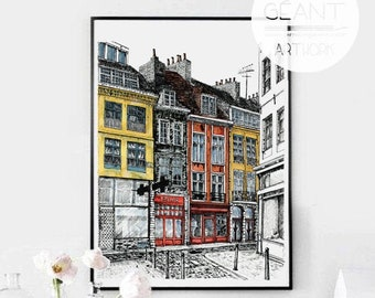 Lille, Rue Pelletier - hand signed limited edition Giclée print by Emilie Geant