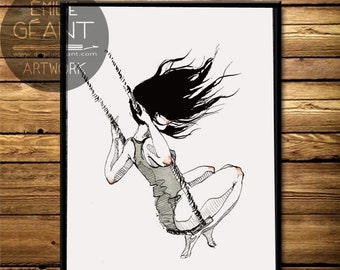 The Swing - hand signed limited edition A3 Giclée print by Emilie Geant