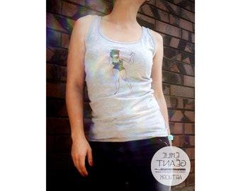 Singlet for woman with Emilie Geant artwork's illustration 'Don't Mind Me'