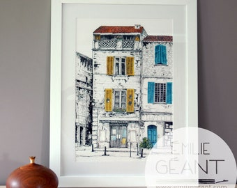 French facade - Lost in Arles - signed limited edition Giclée print by Emilie Geant