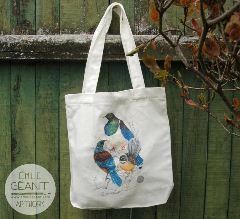 Carrie Tote Bag  with New Zealand birds illustration of a Tui image 0