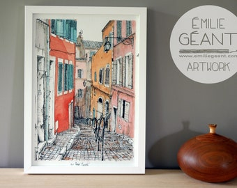 French facade - Le Panier, Marseille - signed limited edition Giclée print by Emilie Geant