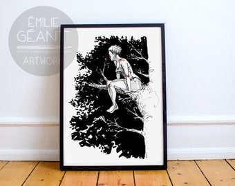 From Up There - hand signed limited edition A3 Giclée print by Emilie Geant