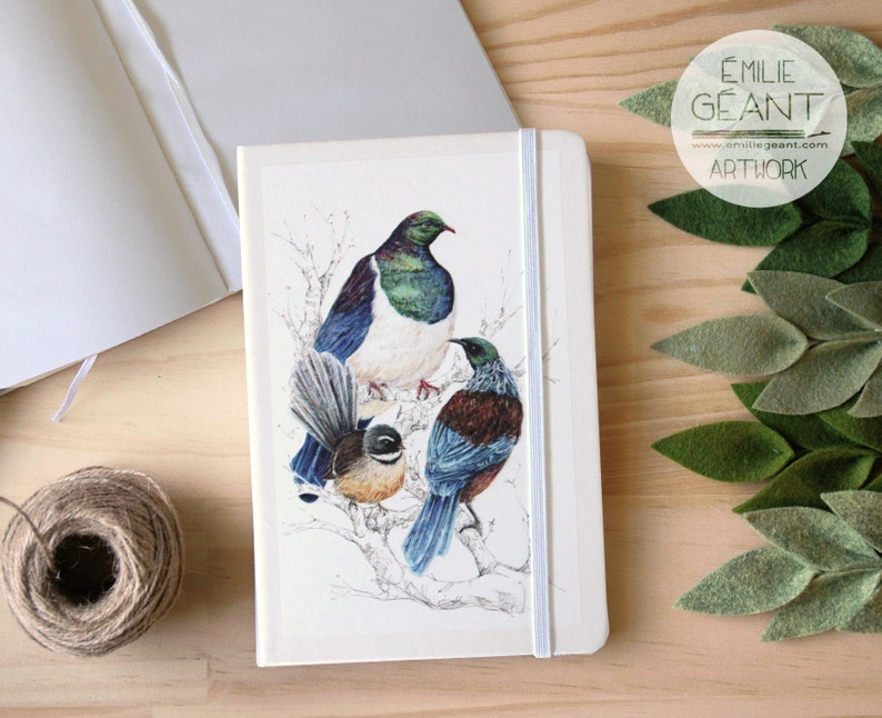 New Zealand native birds Notebook from Original watercolor by image 0