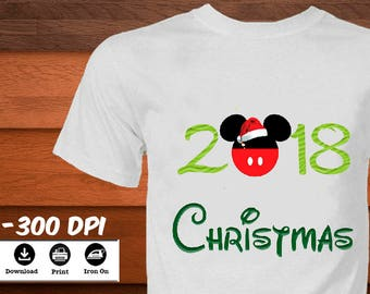 disney christmas iron on shirt mickey head christmas disney transfer image diy 2018 new year mickey mouse printable shirt digital download