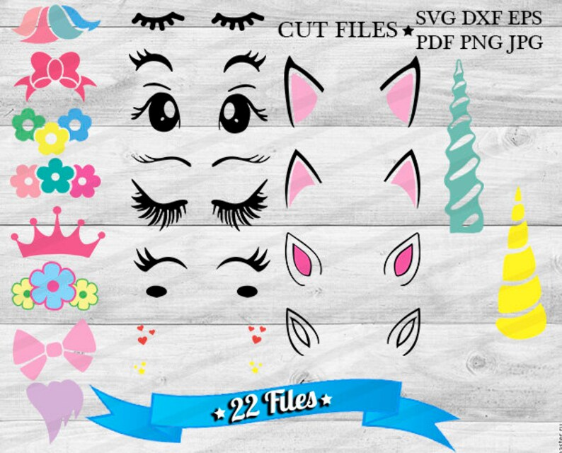 Unicorn svg DIY Create your Unicorn face Clipart Unicorn Head Cricut Files  Unicorn Vector Cut Files For Silhouette-SVG Dxf Eps Png Files