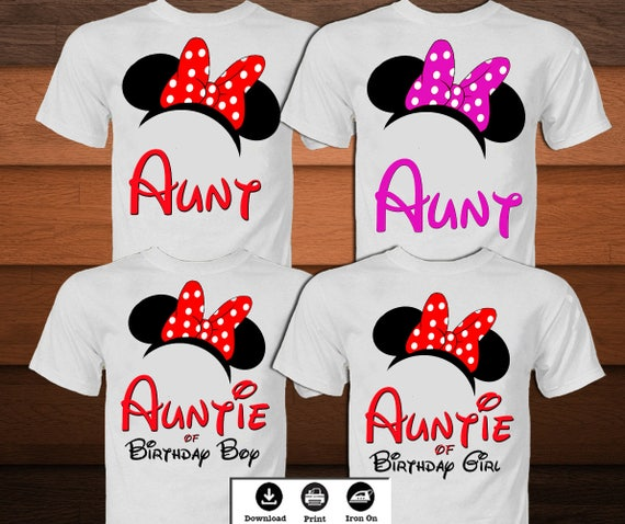 Minnie Mouse Birthday Aunt Shirt Disney Iron On