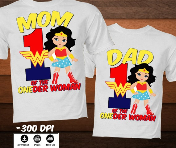 Wonder Woman Iron On Transfer Shirt SuperHero Birthday T
