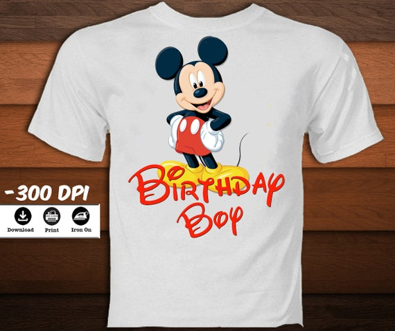 Disney Mickey Mouse Verjaardag Shirt Mickey Mouse Opstrijkbare Etsy
