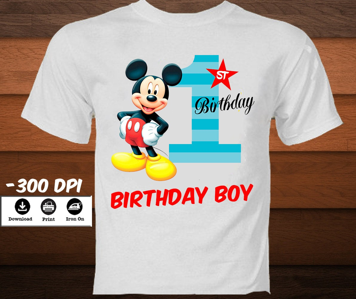 Mickey Mouse First Birthday T Shirt Disney Iron On Transfer
