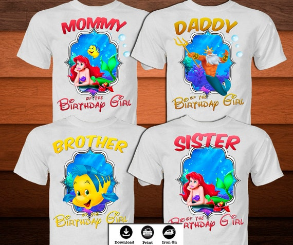 Family Little Mermaid Iron On Transfer Birthday Shirt Set
