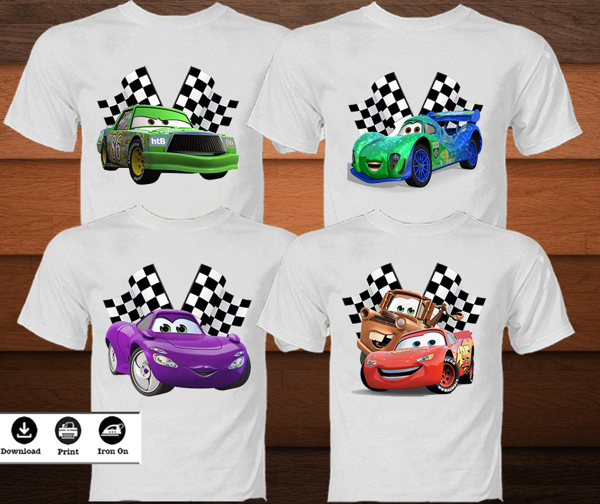 4 disney cars transfert t shirt disney cars fer sur etsy. Black Bedroom Furniture Sets. Home Design Ideas