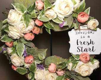 Everyday is a fresh start wreath