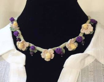 Purple berry Crochet Necklace /Choker. with Amethyst.