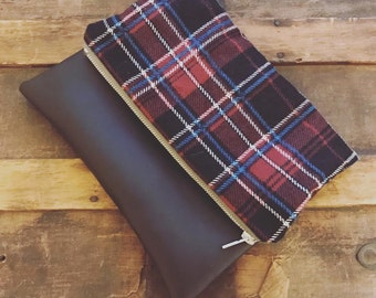 flannel and vinyl clutch