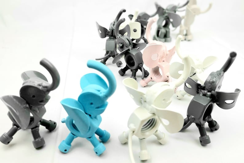 Custom Recycled Reclaimed Scrap Metal Elephant Baby Calf Figurines Sculptures Party Favors Gift Art ~Choice of Colors