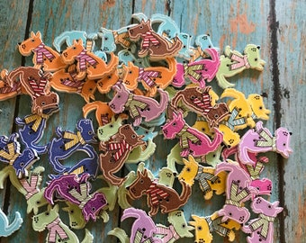 DIY  Wooden button fox shape 2 holes Sewing Embellishments mixed color 22mm