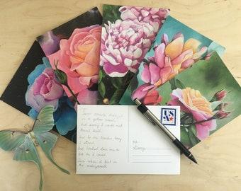 Set of (5) Floral Postcards