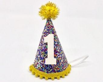 Glitter Party Hat First Birthday Favor 1st Boys Girls Baby