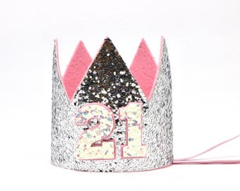 21st Birthday Crown Party Hat Adult Glitter