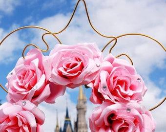 Minnie Mouse ears, disney ears, sleeping beauty ears, Mickey mouse ears, pink mouse ears, floral mouse ears, floral disney ears, mickey ears