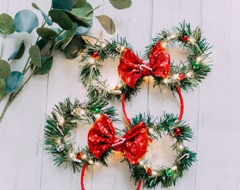 disney ears christmas ears christmas mouse ears holiday mouse ears minnie mouse ears christmas headband christmas wreath mouse ears