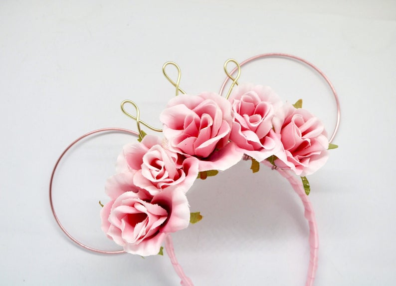 8dbcbbdd0c9 Rose Gold Wire Mouse Ears with Pink Flowers and crown disney